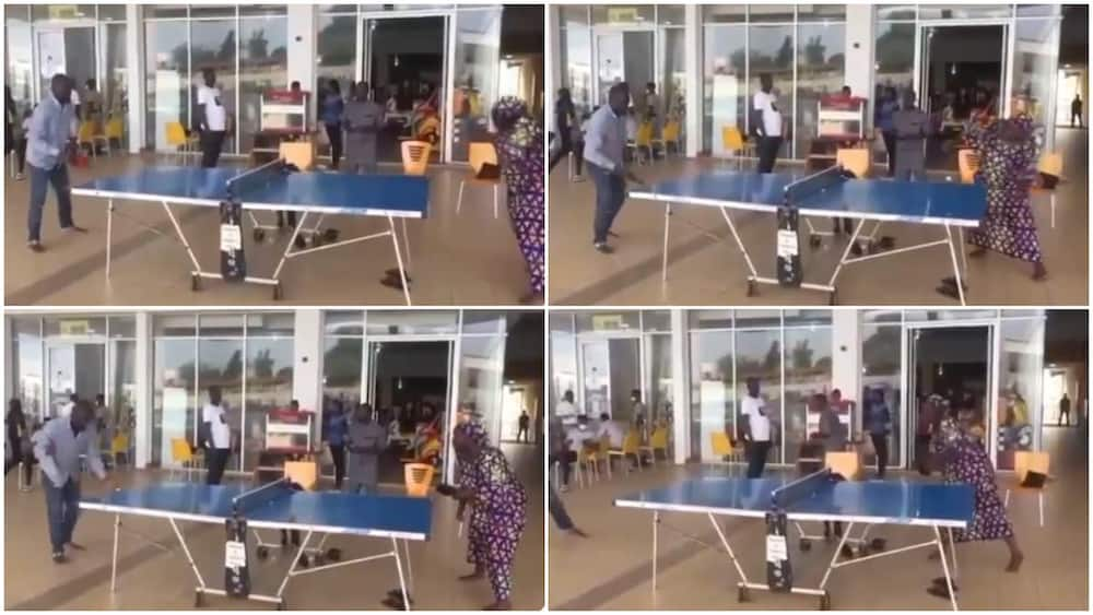 Barefooted Woman in Ankara Teaches Man Serious Lesson During Table Tennis Game, Video Sparks Reactions