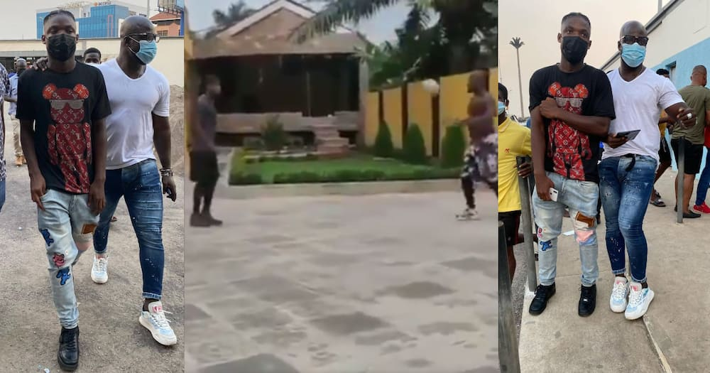 Like father like son: Stephen Appiah trains with his son at home