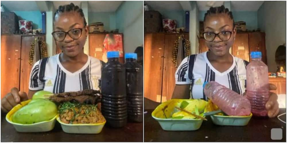 Young Nigerian Lady Finishes Mountain of Beans with Stick Meat, 3 Mangoes & 2 Bottles of Zobo, Many React
