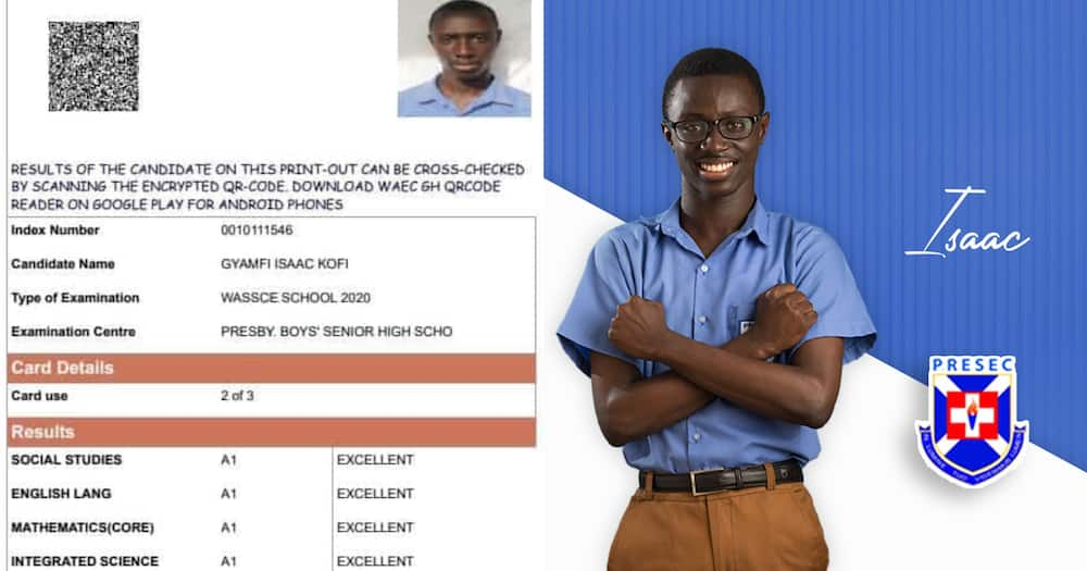 Gyamfi Isaac: Gakpetor's PRESEC NSMQ 2020 co-contestant scores 8As in WASSCE 2020