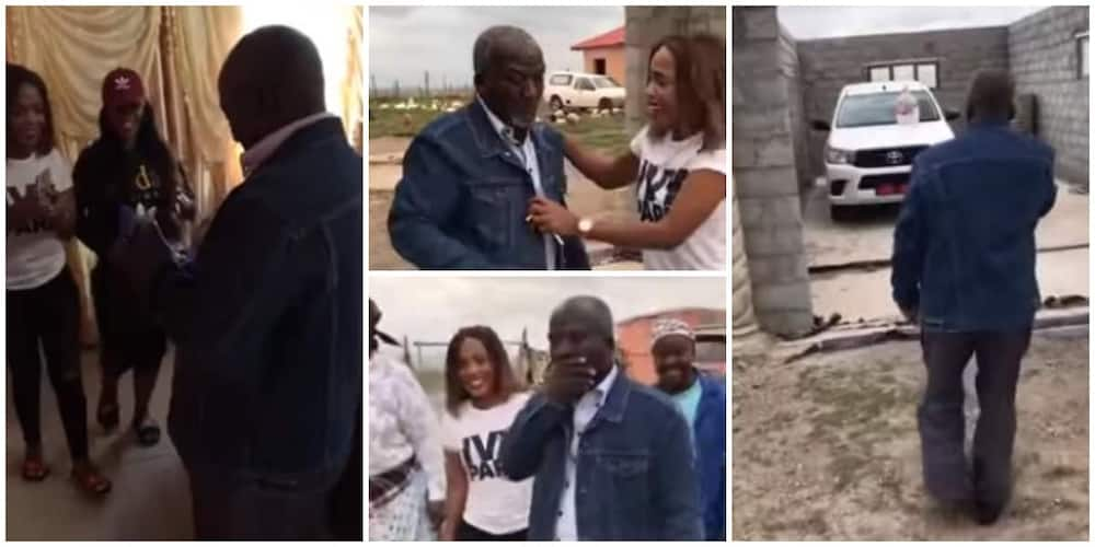 Reactions as two daughters gift their dad a brand new car in emotional video