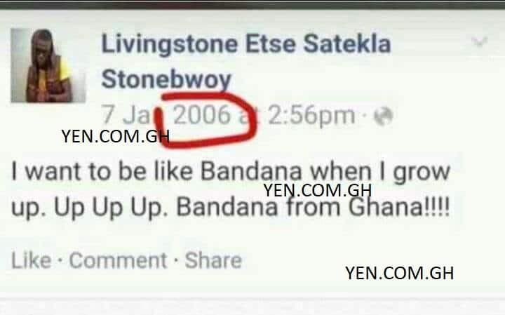 2006 Facebook post of Stonebwoy aspiring to be like Shatta Wale pops up
