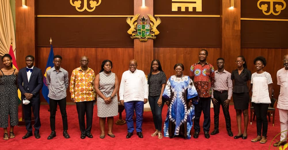 Nana Addo meets top free SHS students who had 8As in WASSCE