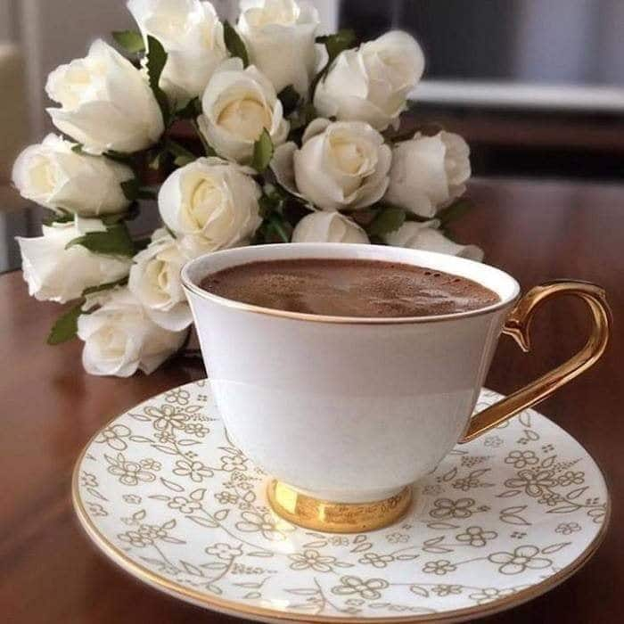 good morning coffee and rose