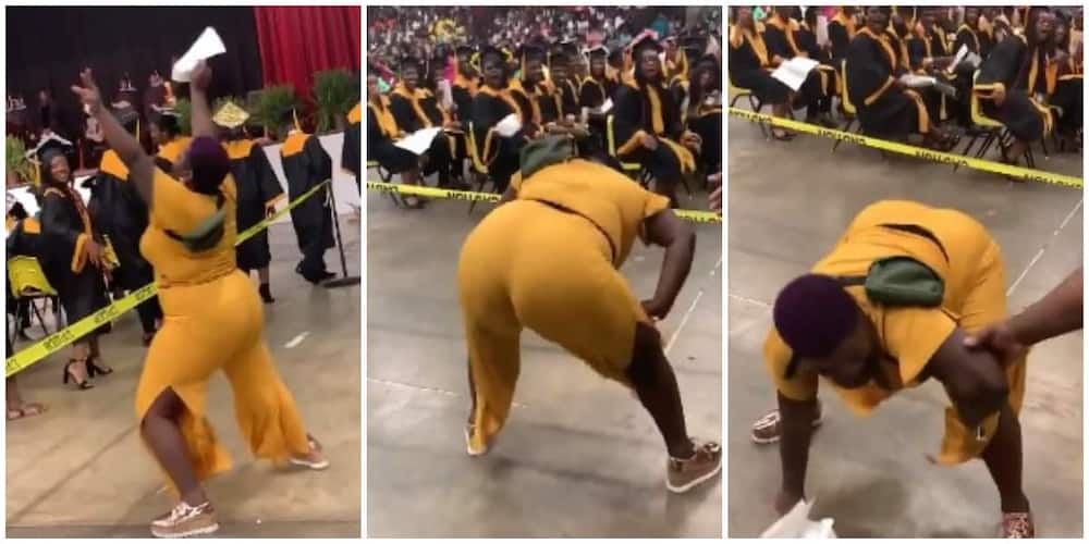 Reactions as mum twerks hard for joy as son's name is announced at his graduation, video goes viral