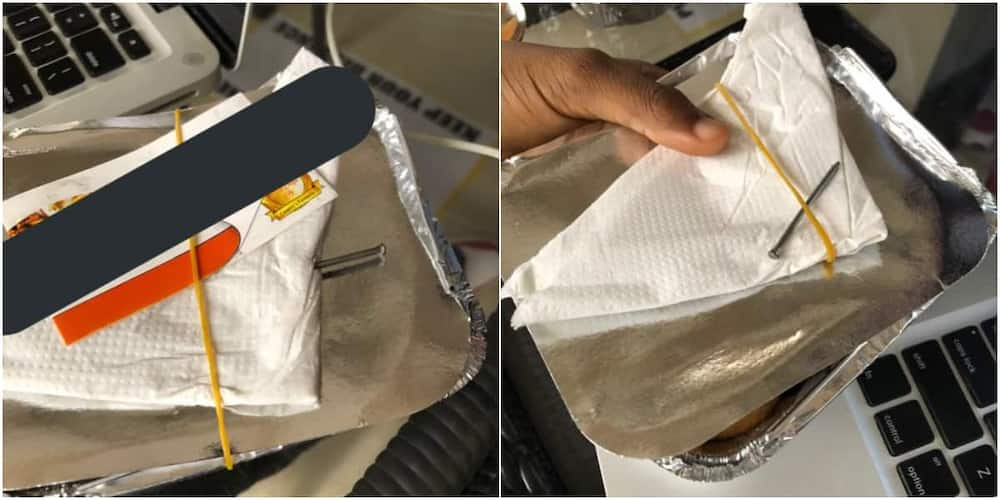 To chook beggy beggy: Massive reactions as Nigerian small chops vendor replaces toothpick with nails