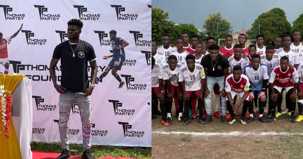 Arsenal star Thomas Partey at the unveiling of his foundation
