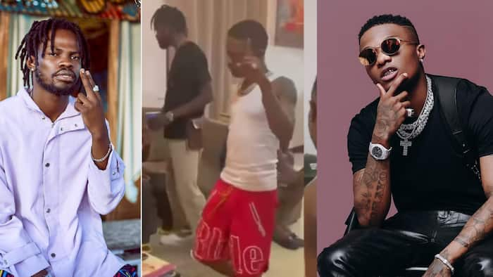 Fameye on cloud 9 as Wizkid sings his song after meeting him for the 1st time; shares exciting video