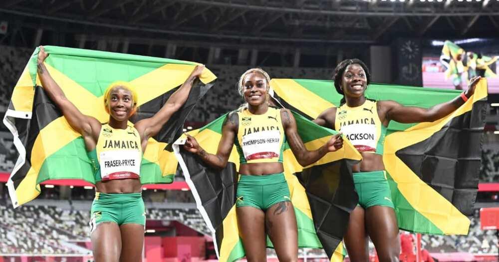 Olympics, Jamaica, female runners, gold, silver, bronze, Elaine Thompson-Herah, breaks record