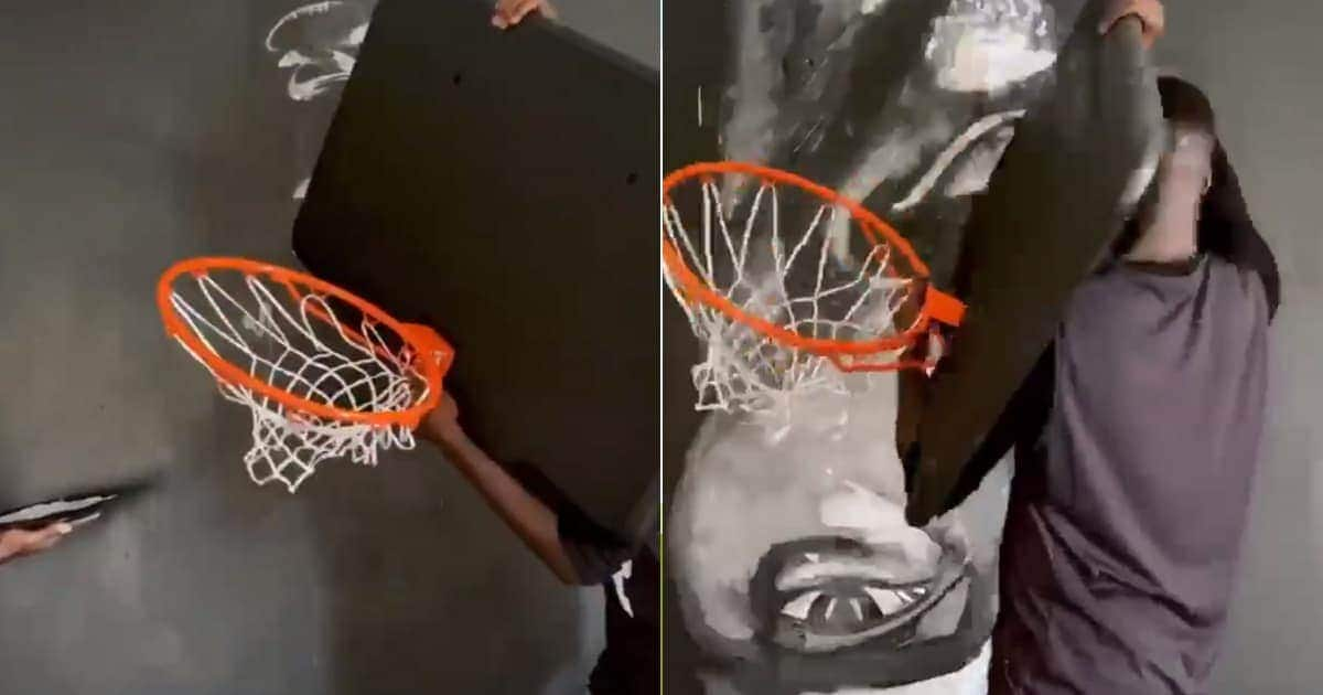 Internet users react as African artist does amazing Kobe Bryant painting with basketball hoop