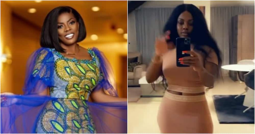 Nana Aba Anamoah flaunts her curves as she shows off her expensive living room in video
