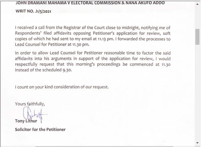 Election petition: Mahama requests a delay in today's proceedings for Tsatsu Tsikata to adequately prepare