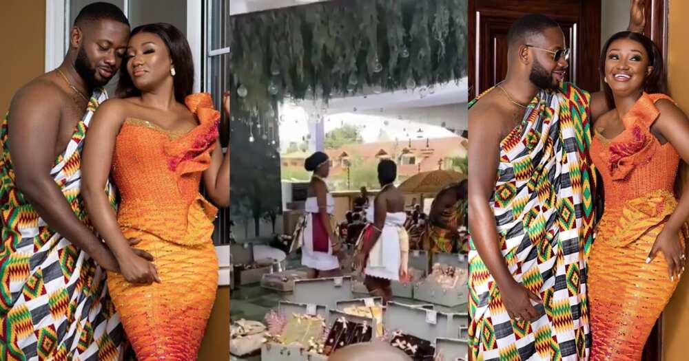 Cindy Ofori Sarpong wedding: Video of items Richard Peprah used to pay dowry pop up