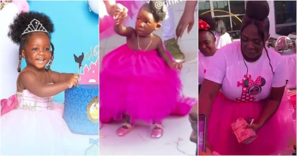 Tracey Boakye sprays wad of cash on daughter Nhyira at her 1 year b'day party in video