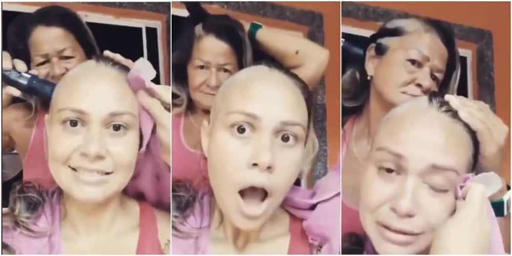 Woman scrapes off her hair in solidarity with daughter who's battling cancer