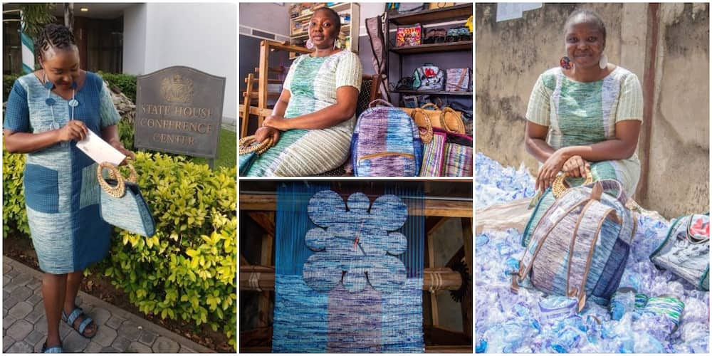 Nigerian Woman Makes Beautiful Bags, Clothes, Shoes From Pure Water Nylon Wastes, Photos Spark Reactions