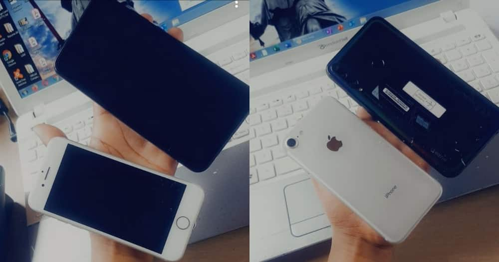 Young lady shares pics of her new phones