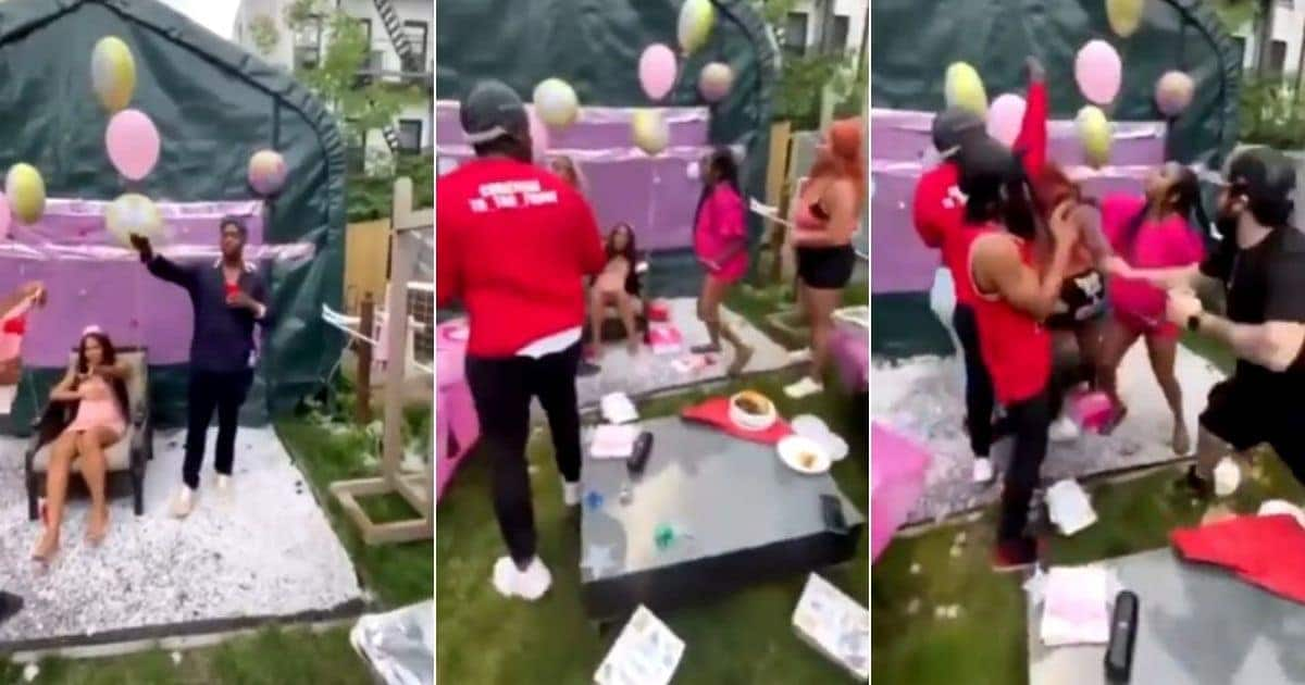 Fine face man throws baby shower for bae, his other baby mama storms event in video
