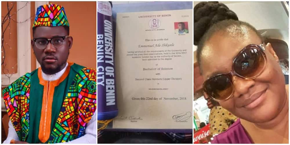 Nigerian graduates showers praises on mum who sold wrappers to send him to school in 12 languages