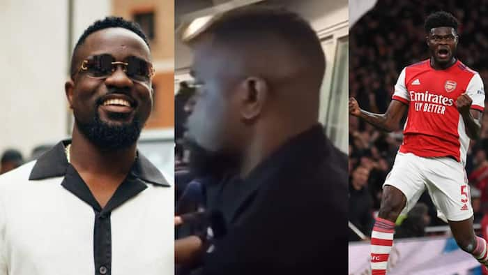 Video drops as Sarkodie watches Thomas Partey score his first goal for Arsenal