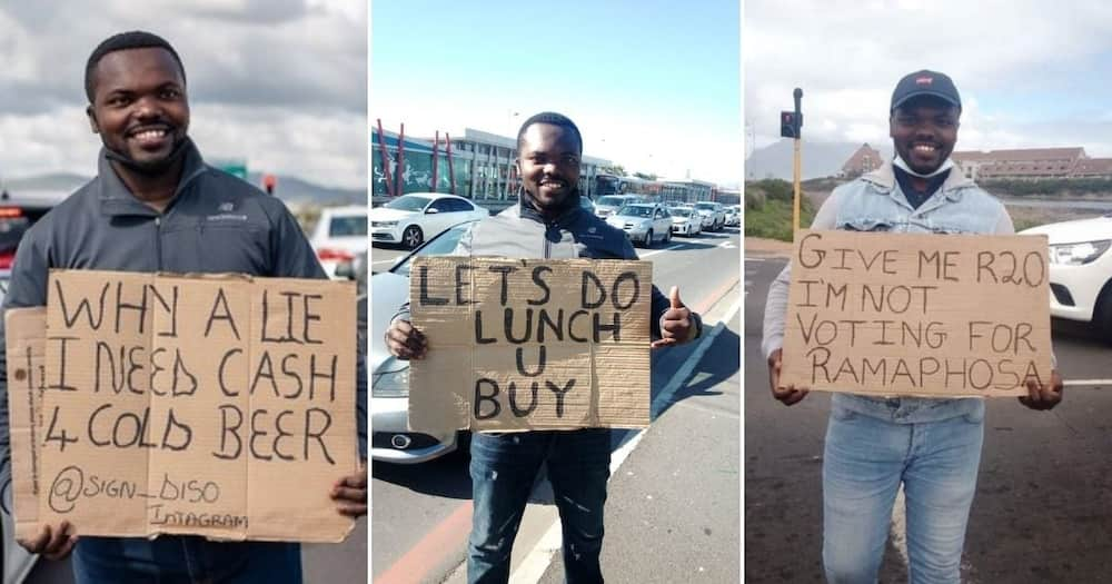 Funny placards inspire Good Samaritan to buy a house for jobless dad