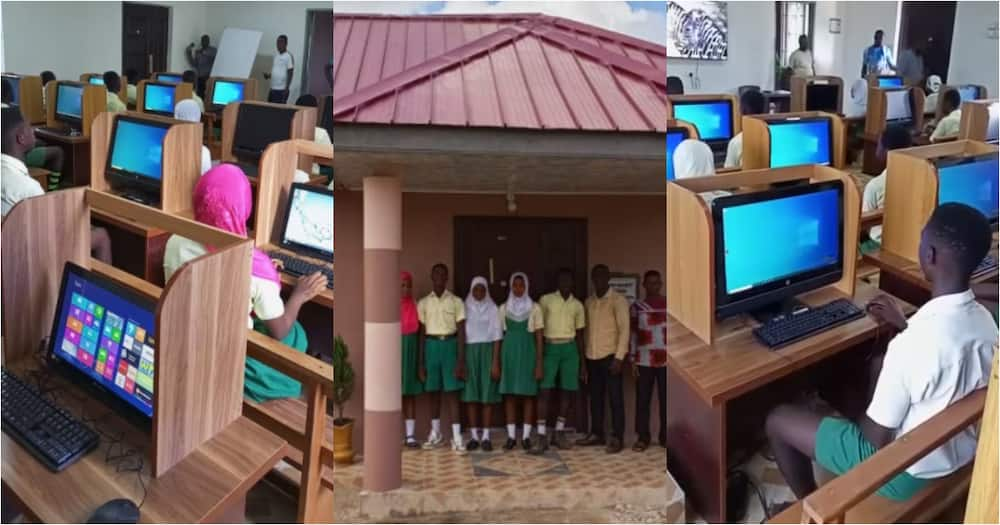 Some pupils and teachers of the Bremen Brakwa Islamic School inside the ICT Centre
