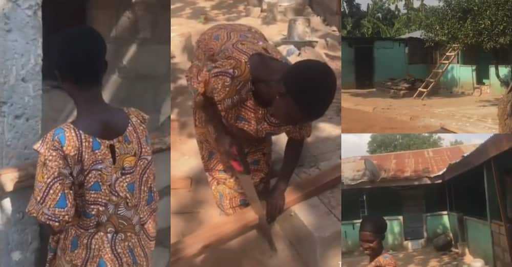 Lady in Ashanti Region builds huge house single-handedly; no masons & carpenters