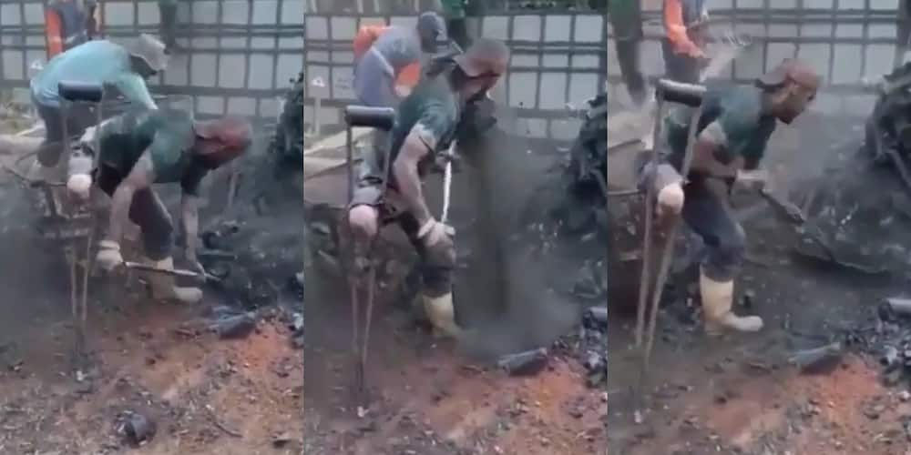 Video of amputee working as hard as his colleagues on the field stirs emotions