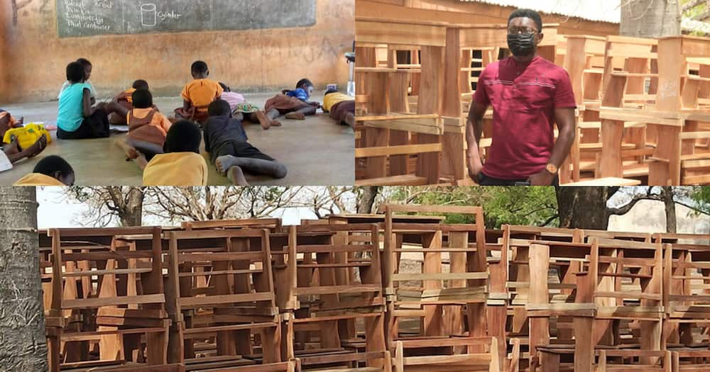 Ghanaian teacher gives 81 desks to Naaga Basic pupils who used to learn on floor
