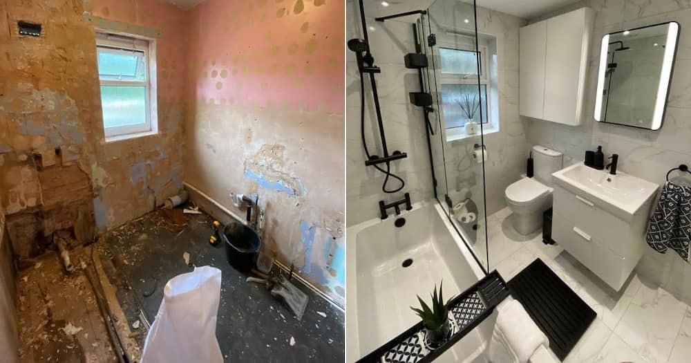 old bathroom, new bathroom, before-and-after, mum, son