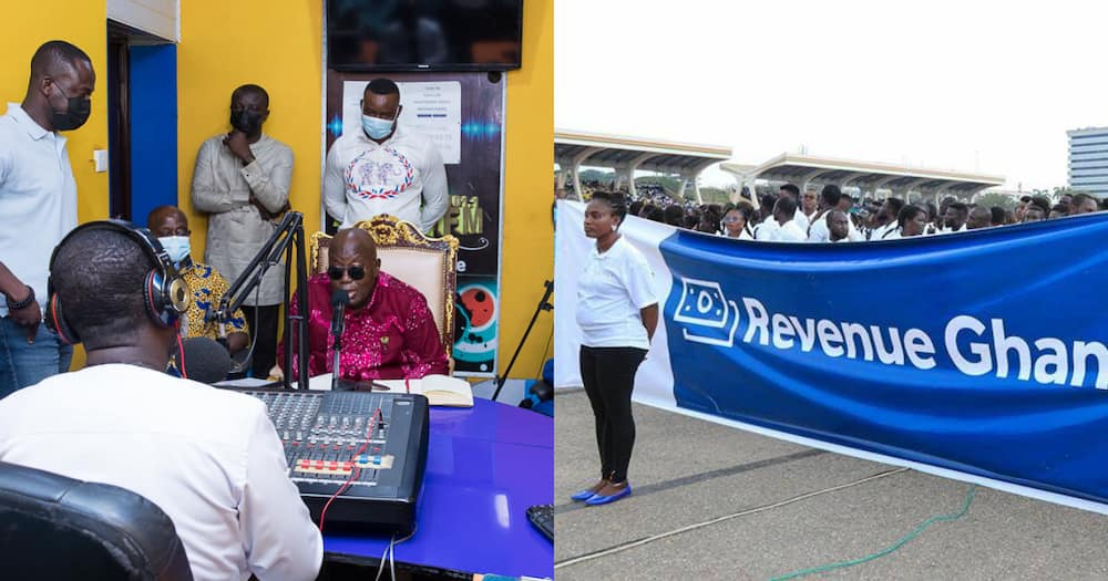 Collage of Akufo-Addo speaking in an interview and NABCo recruits