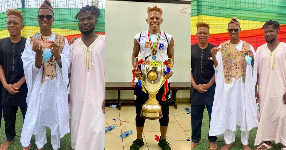 Madina-based Hearts of Oak players present medals to Member of Parliament