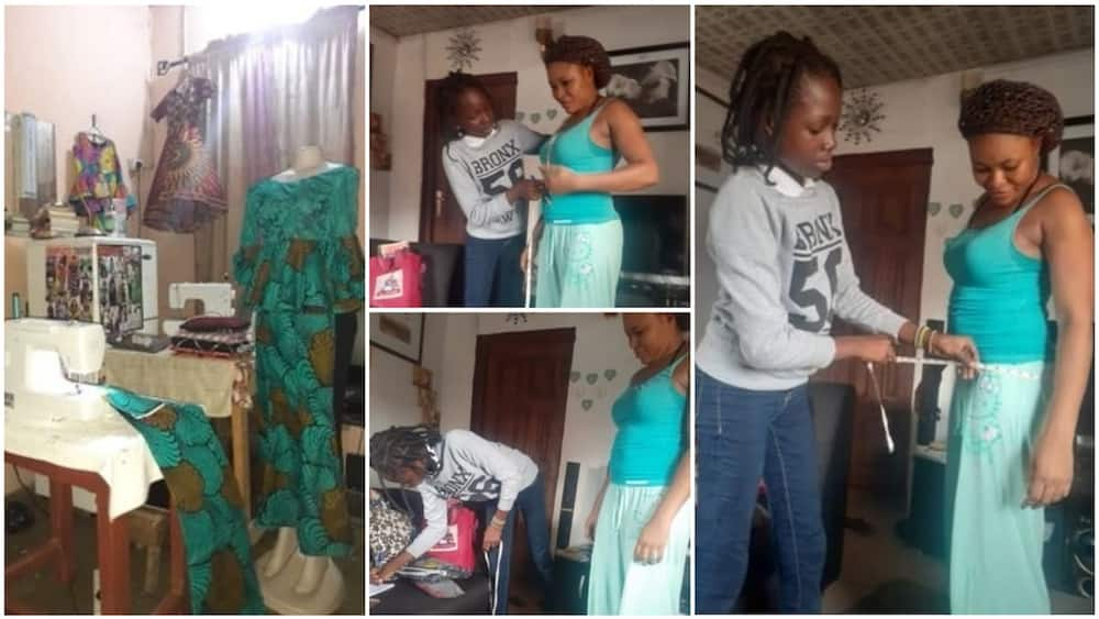 A collage of the 12-year-old taking measurement and her piece. Photo source: Twitter/Favour Adebayo
