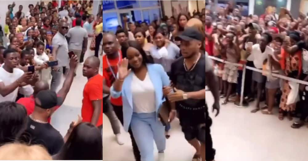 Jackie Appiah: Actress Causes Traffic at African mall with Hundreds Rushing to see her in Video