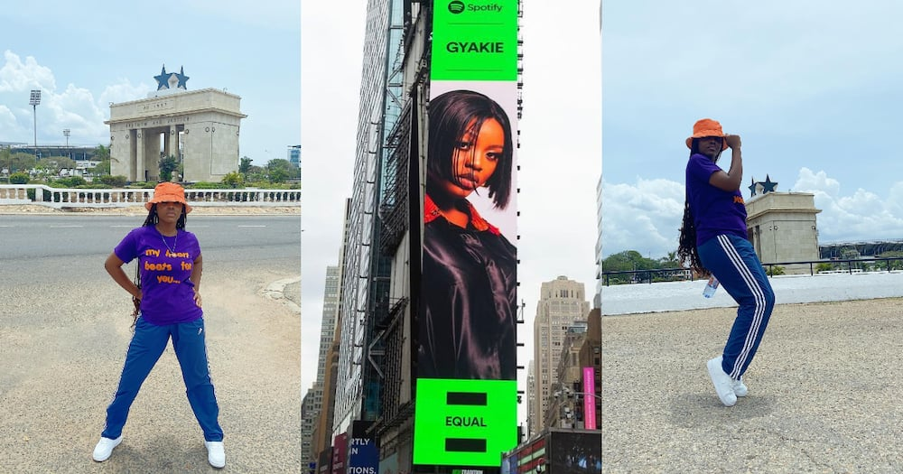 Billboard of Gyakie appears in New York City. Ghanaians express joy for her