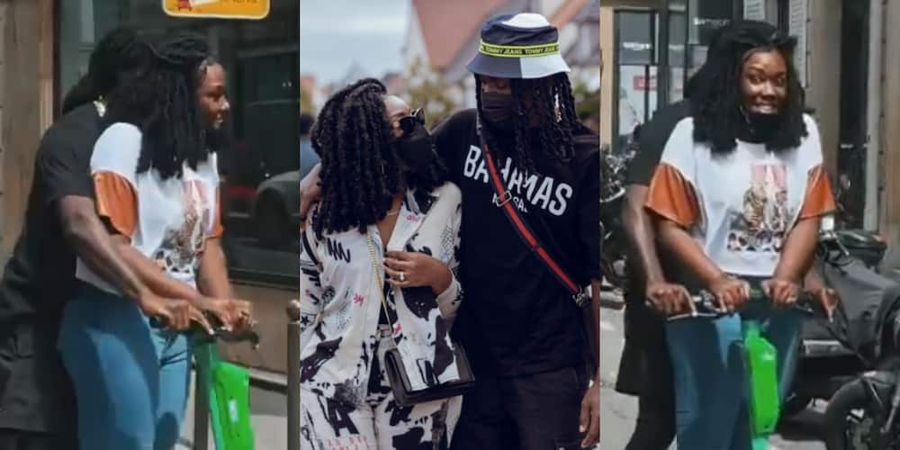 Stonebwoy and wife Louisa give couple goals as they ride on scotter in France, video drops