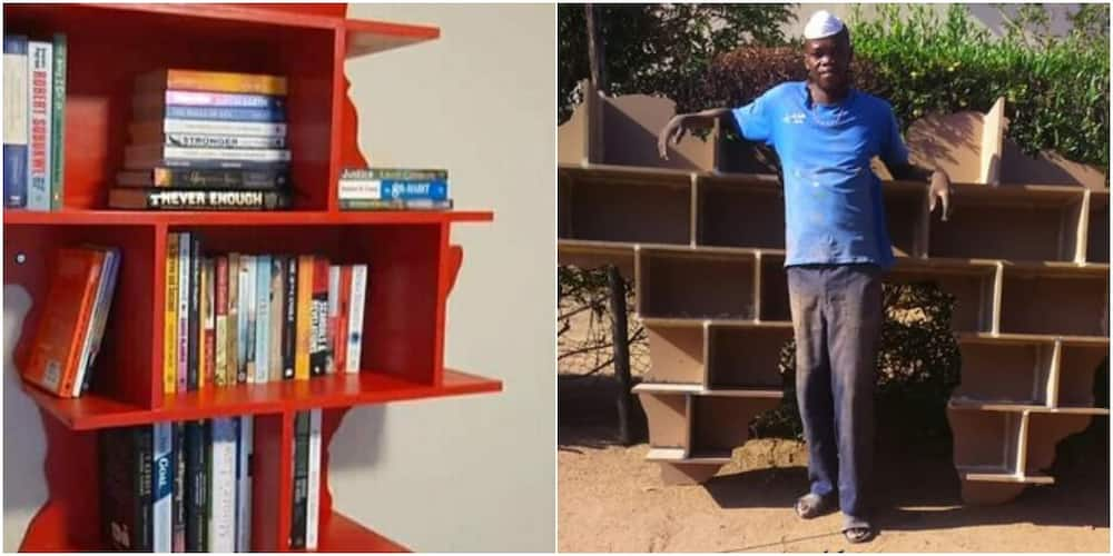 Man builds African map-shaped shelf that accommodates many books; wows people with his creativity