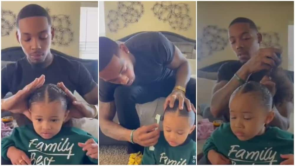 Heartmelting Video Captures Cute Moment Father Makes Hair for his Daughter with Great Kkill, many Praise him