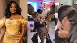 Hon Aponkye in tears as he meets his godmother Nana Aba Anamoah at her lavish b'day party in video