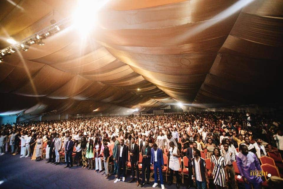 """Christ Embassy members mass up in thousands with no masks for """"Pneumatica Night 2021"""""""
