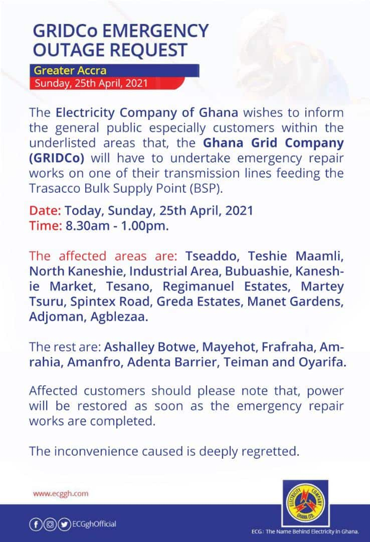 GRIDCO announces planned outages, lists affected residential arears in Accra