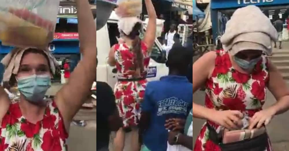 Krom Ayeshi: Video of German lady hawking drinks on the street of Accra pops up