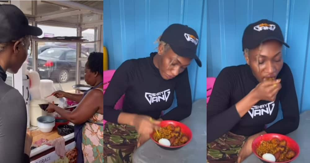 Don't disrespect gob3 like that - Fans jab Wendy Shay over video of her eating beans in town