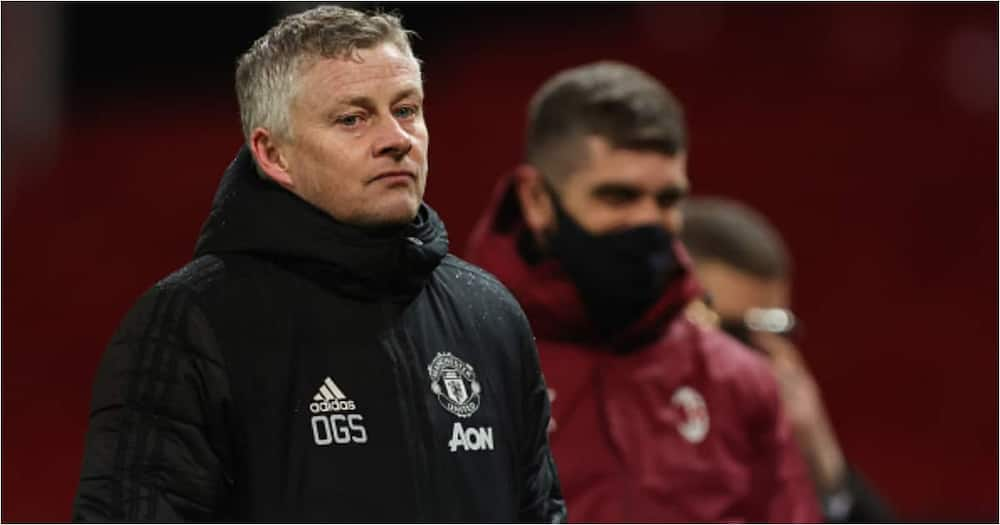 Ole Gunnar Solksjaer cuts a dejected face during the UEFA Europa League Round of 16 First Leg match between Manchester United and A.C. Milan (Photo by Matthew Ashton - AMA/Getty Images)
