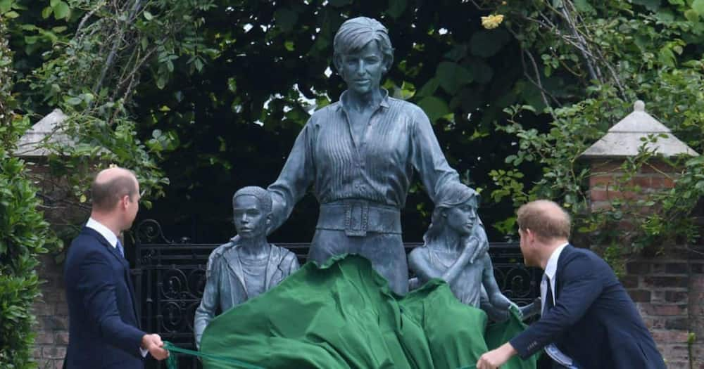 Prince Harry and William unveiled the statue on Thursday at Kensington Palace.