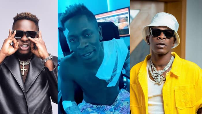 Shatta Wale shows massive love to Medikal as he tattooes rapper's name on his body