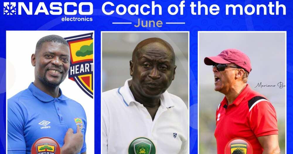 Hearts Coach Samuel Boadu, Kotoko's Mariano Baretto battle Dwarf's Kuuku Dadzie for monthly prize