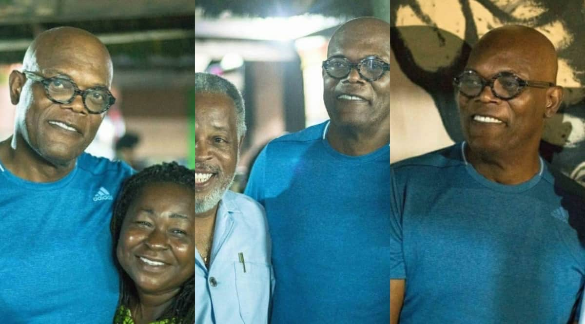 Lovely photos of US film star Samuel Jackson at popular restaurant in Elmina drops