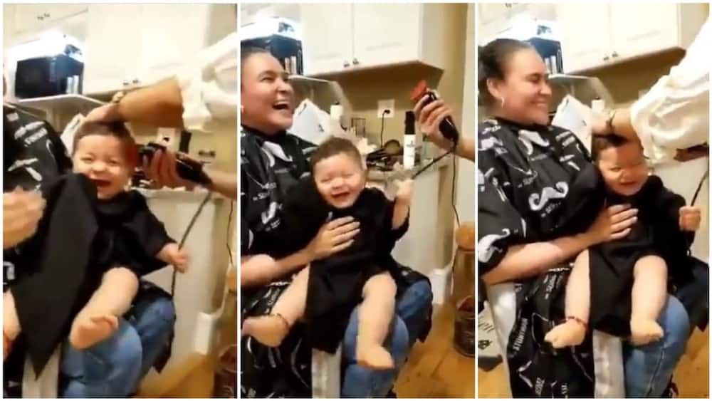 A collage showing the baby during the haircut. Twitter/@cctv_idiots