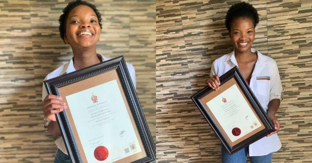 Woman celebrates bagging an engineering degree Pls export Pls export